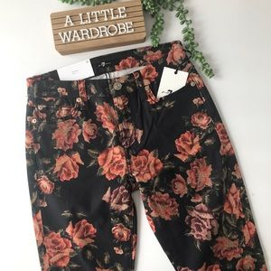 NWT! 7FAMK Super Skinny Needle Point Floral Jeans